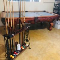 8' Heirloom Collection Regulation Size Ornate Carved Slate Pool Table Cue Stan