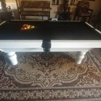 7ft Slate White & Black Pool Table